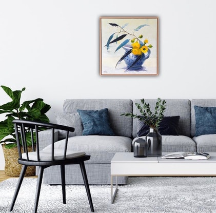 (CreativeWork) Yellow gum blossom in willow jug II (64 cm includes frame) by kirsty mcintyre. Oil Paint. Shop online at Bluethumb.