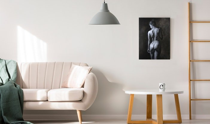 (CreativeWork) Monochrome Nude Study by Colleen Stapleton. Oil Paint. Shop online at Bluethumb.