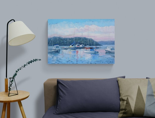 (CreativeWork) Boats at Oyster Harbour  by Michael Cartwright. Oil Paint. Shop online at Bluethumb.