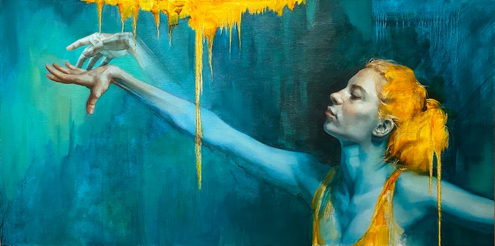 (CreativeWork) Pthalo Blues by Colleen Stapleton. Oil Paint. Shop online at Bluethumb.