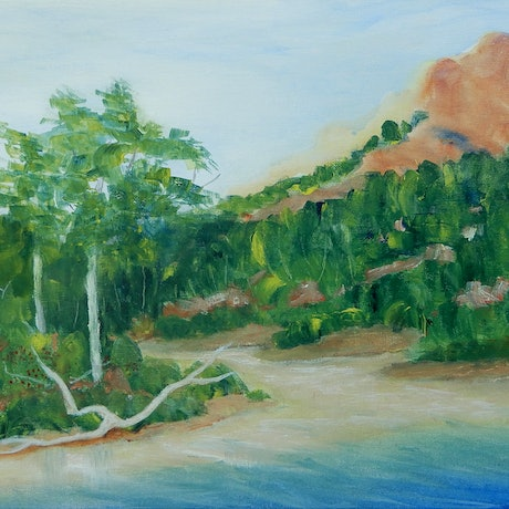 (CreativeWork) Lake St Clair Shoreline 2 by Doodie Herman. Acrylic Paint. Shop online at Bluethumb.