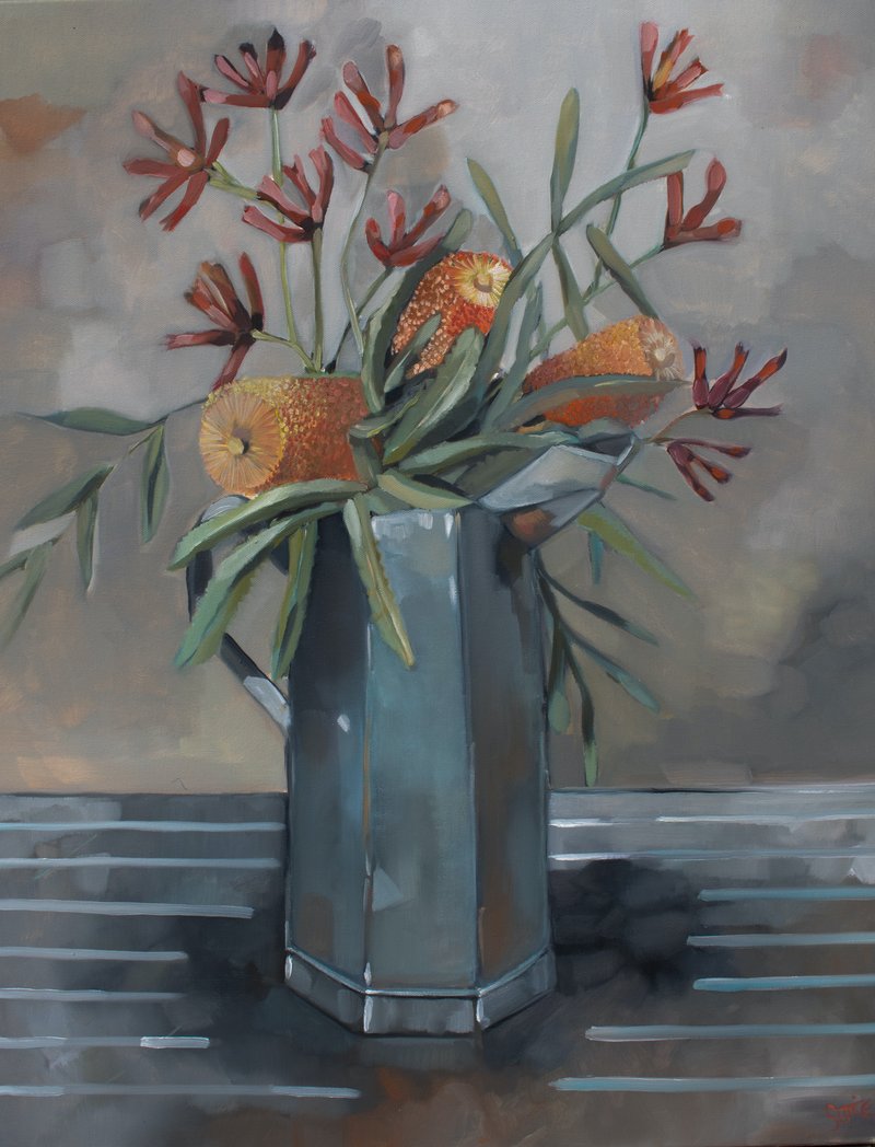 (CreativeWork) Banksia & Paw by Sam Suttie. Oil Paint. Shop online at Bluethumb.