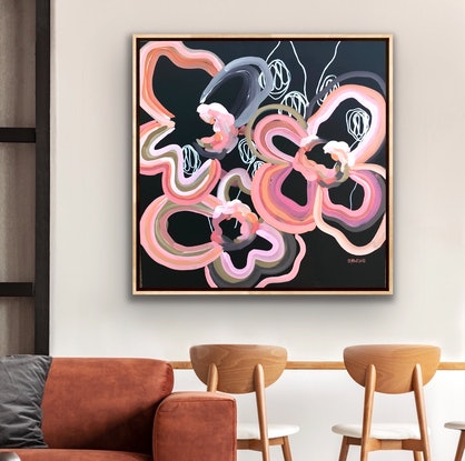 (CreativeWork) Crazy Love You - Abstract Flowers by Jen Shewring. Acrylic Paint. Shop online at Bluethumb.