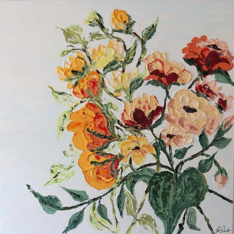 (CreativeWork) Wild roses in full bloom by Kat Schmitt. Acrylic Paint. Shop online at Bluethumb.