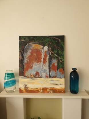 (CreativeWork) Giants at the Prom  by Olga Megele. Acrylic Paint. Shop online at Bluethumb.