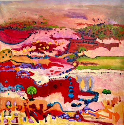 (CreativeWork) Red Soil Country by Carolyn McCosker. Acrylic. Shop online at Bluethumb.