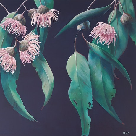 (CreativeWork) Our pink flowering gum by Kate Wise. Acrylic Paint. Shop online at Bluethumb.