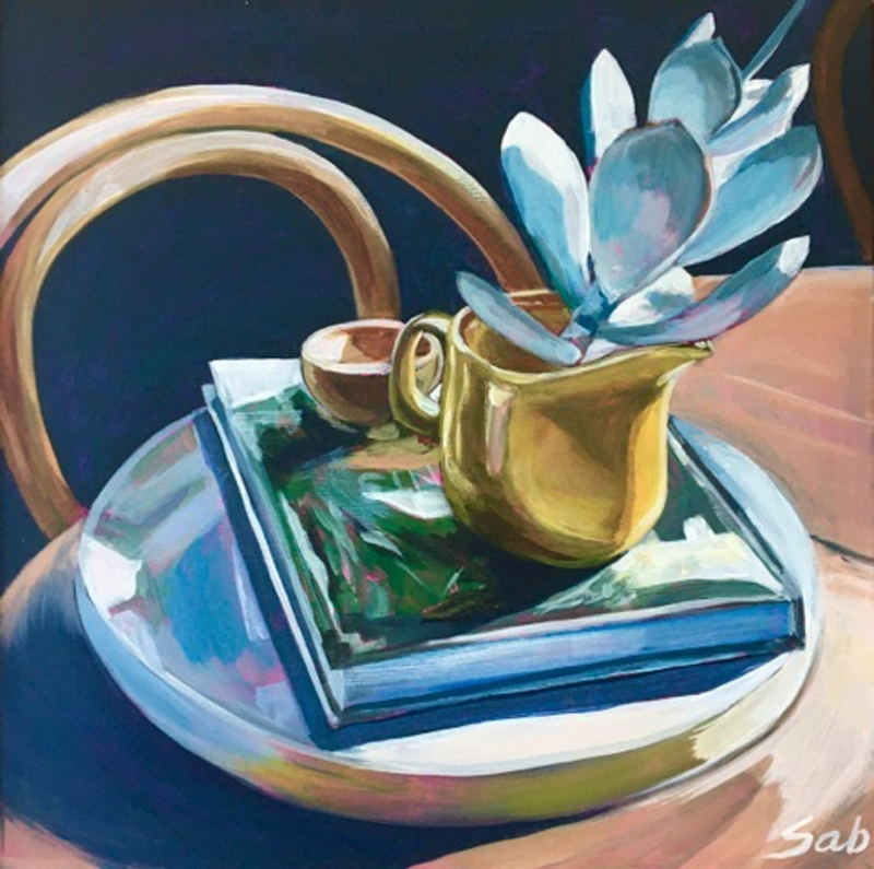 (CreativeWork) At Home with Plants 2 by Sarah Abbott. Acrylic Paint. Shop online at Bluethumb.