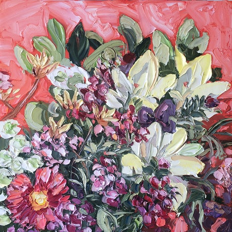 """(CreativeWork) """"A Bunch On Monday"""" by Sally West. Oil Paint. Shop online at Bluethumb."""