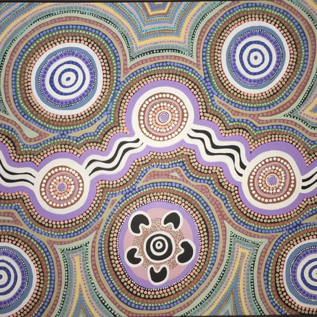 (CreativeWork) Aboriginal dot painting 'mountain country'  by gidabul doobay. Acrylic Paint. Shop online at Bluethumb.