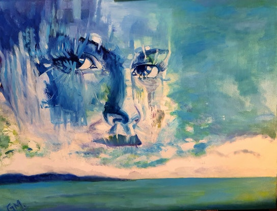 (CreativeWork) Blue Eyes Horizon  by Gerard Mignot. Oil Paint. Shop online at Bluethumb.