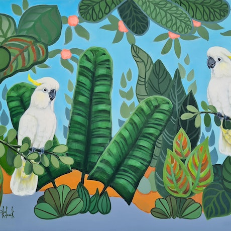 (CreativeWork) Toos Company 2 - Tropic of Cockatoo - AUSTRALIANA  by Olga Kolesnik. Acrylic Paint. Shop online at Bluethumb.