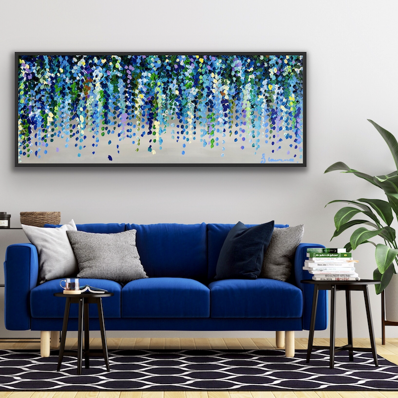 (CreativeWork) Misty morning blue wisteria 153x61 framed large abstract floral by Sophie Lawrence. Acrylic Paint. Shop online at Bluethumb.