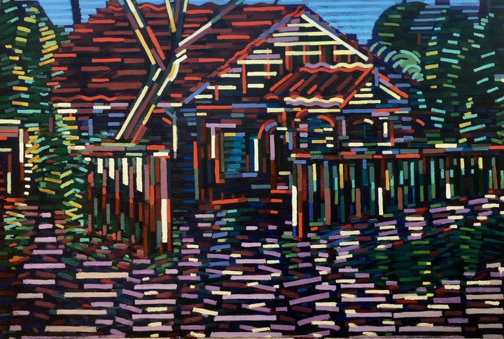 (CreativeWork) Neighbours by D.M. Ross. Oil Paint. Shop online at Bluethumb.