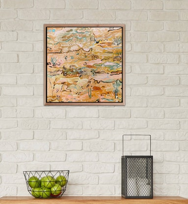 (CreativeWork) Outback Wander 1 - Framed in Oak by Carley Bourne. Acrylic Paint. Shop online at Bluethumb.