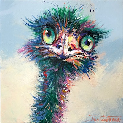 (CreativeWork) Emu 76 by Jos Coufreur. Acrylic Paint. Shop online at Bluethumb.