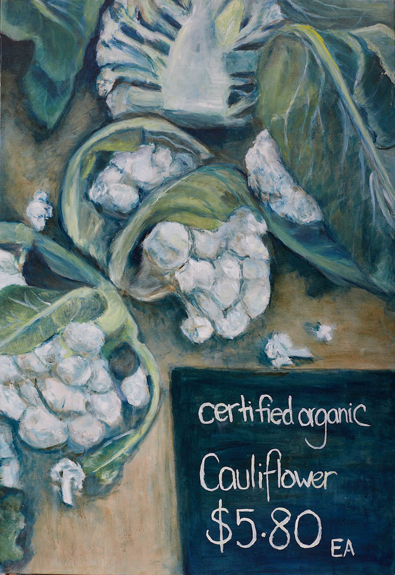 (CreativeWork) Market Stall- Cauliflower by Kate Lionis. Oil Paint. Shop online at Bluethumb.