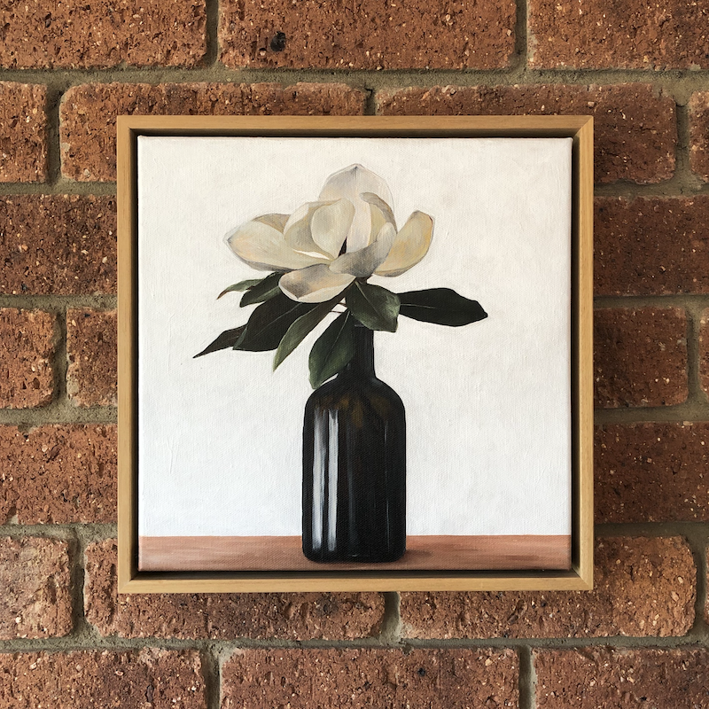 (CreativeWork) Judy's Magnolia by Jess Olding. Oil Paint. Shop online at Bluethumb.