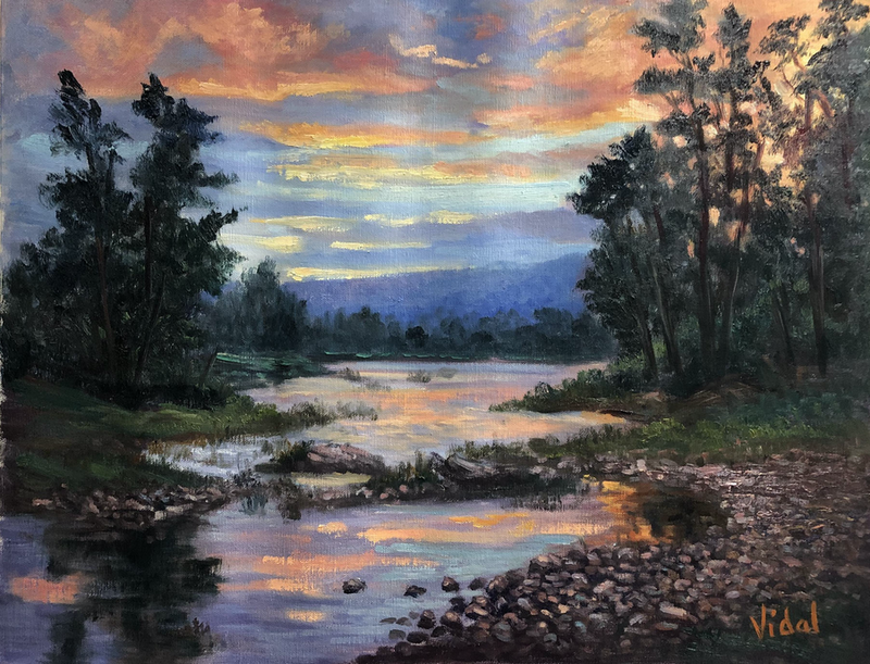 (CreativeWork) Where the Nepean meets the Hawksbury, Yarramundi, NSW - oil on loose Belgian linen   by Christopher Vidal. Oil Paint. Shop online at Bluethumb.