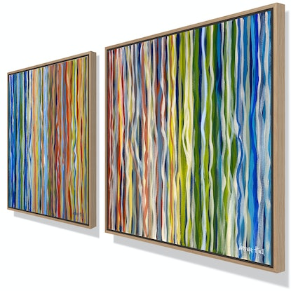 (CreativeWork) The Velvet Forest – Diptych – 76 x 76cm each – unframed by George Hall. Acrylic Paint. Shop online at Bluethumb.