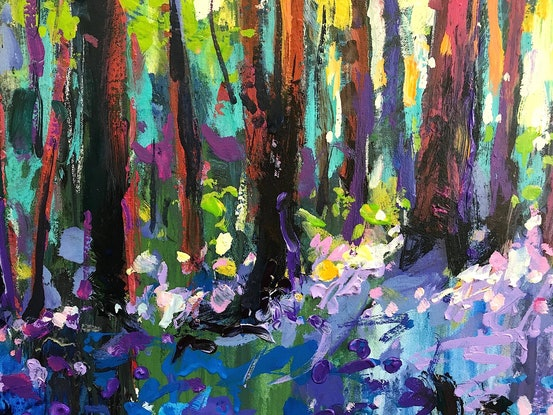 (CreativeWork) Forest Wildflowers by Jos Coufreur. Acrylic Paint. Shop online at Bluethumb.