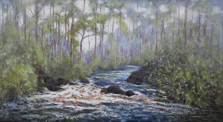 (CreativeWork) Riverside Red Gums by Michael Cartwright. Oil Paint. Shop online at Bluethumb.