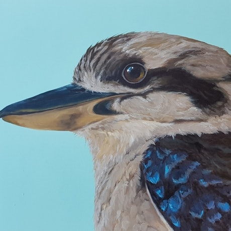 (CreativeWork) The Locals #8 - Kookaburra by Brendan Blanchard. Acrylic Paint. Shop online at Bluethumb.