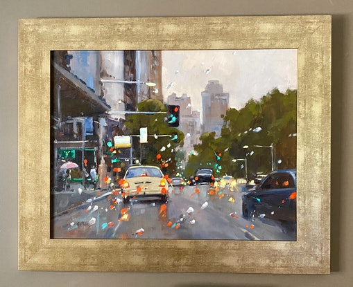 (CreativeWork) Winter in the City by Ros Psakis. Oil Paint. Shop online at Bluethumb.