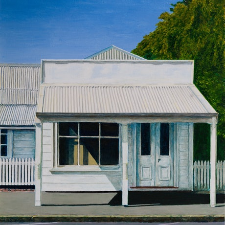 (CreativeWork) White house, Bank Street, Port Fairy by Paul Burman. Acrylic Paint. Shop online at Bluethumb.