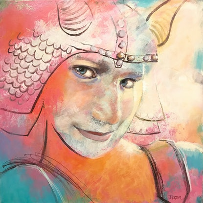 (CreativeWork) Shy Viking by Jennifer Croom. Acrylic Paint. Shop online at Bluethumb.