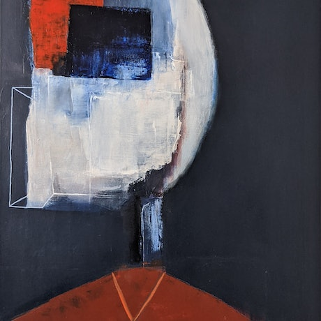 (CreativeWork) Red, On Time by Davide DiCenso. Acrylic Paint. Shop online at Bluethumb.