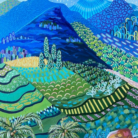 (CreativeWork) SAPA's  BLUE MOUNTAIN RANGES - Abstract Landscape by Daniela Fowler. Acrylic Paint. Shop online at Bluethumb.