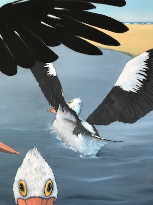 (CreativeWork) Not..Happy..Jan! Pelican Inlet by Mary Conder. Acrylic Paint. Shop online at Bluethumb.