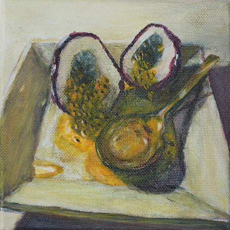 (CreativeWork) Still Life- Passionfruit Halves by Kate Lionis. Acrylic. Shop online at Bluethumb.