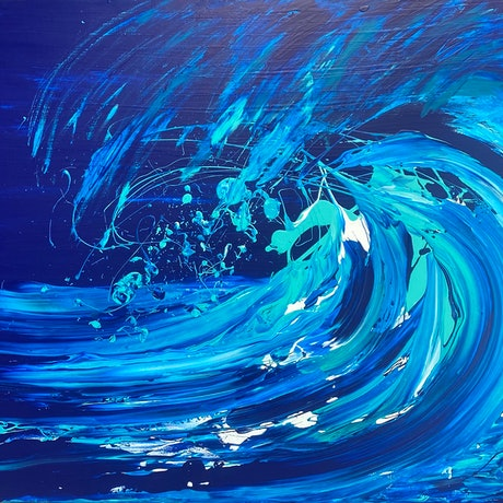 (CreativeWork) Breaking In The Moonlight - Wave Series by Annette Spinks. Acrylic Paint. Shop online at Bluethumb.
