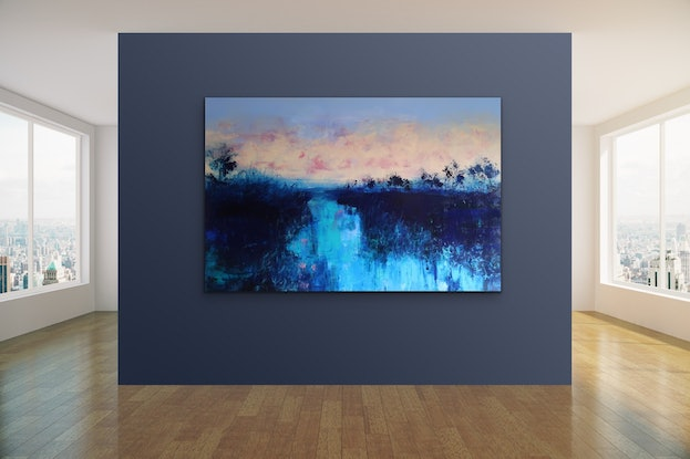 (CreativeWork) Evening Sky Reflections by Maria Cross. Acrylic Paint. Shop online at Bluethumb.