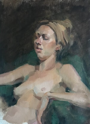 (CreativeWork)  Sleeping Muse by Colleen Stapleton. Oil Paint. Shop online at Bluethumb.