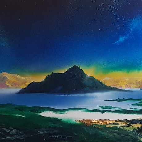 (CreativeWork) Scotts Peak , Lake Pedder Tasmania by Phillip McKay. Mixed Media. Shop online at Bluethumb.