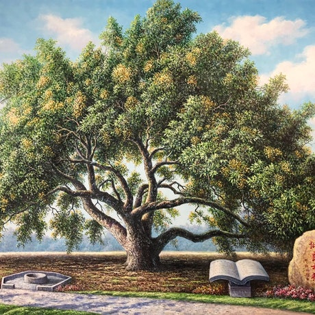 (CreativeWork) Longan trees planted by grandfather by Alex Mo. Oil Paint. Shop online at Bluethumb.
