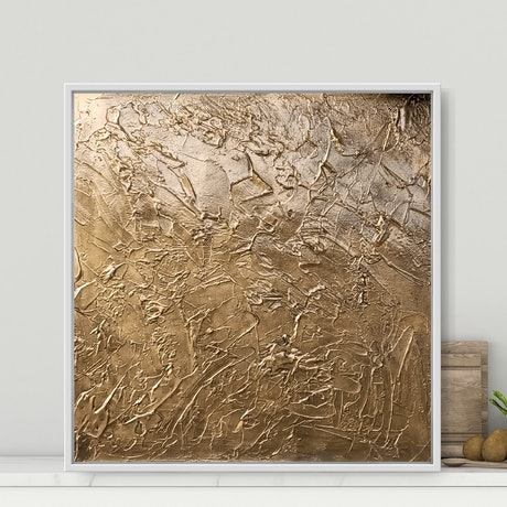 (CreativeWork) Old Gold _ Framed minimalist art by Josephine Ann Pitsiava. Oil Paint. Shop online at Bluethumb.