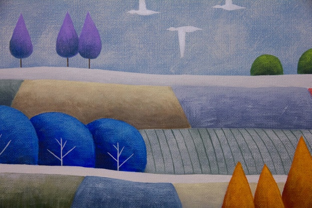(CreativeWork) Dusk Patchwork No.4 by Kate Graham. Acrylic Paint. Shop online at Bluethumb.
