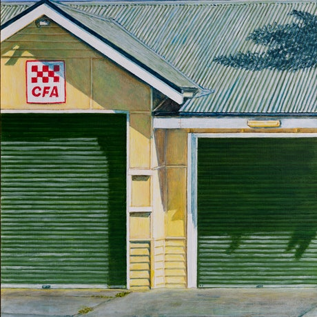 (CreativeWork) Fire Station, Port Fairy by Paul Burman. Acrylic Paint. Shop online at Bluethumb.