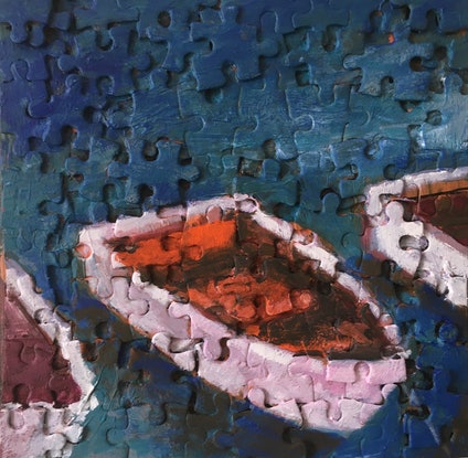 (CreativeWork) Dinghies by Ralph Ross. Mixed Media. Shop online at Bluethumb.