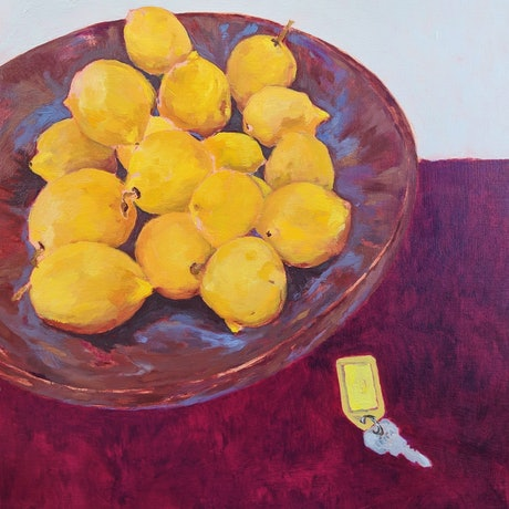 (CreativeWork) Lemon bowl  by Amanda Cutlack. Oil Paint. Shop online at Bluethumb.