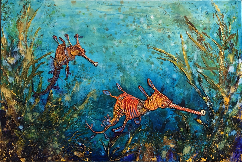 (CreativeWork) Weedy Sea Dragons  - NSW South Coast by Andrew Smith. Acrylic Paint. Shop online at Bluethumb.