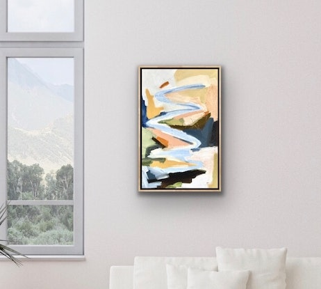 (CreativeWork) Snowy River Spring - Abstract landscape by Meredith Howse. Oil Paint. Shop online at Bluethumb.