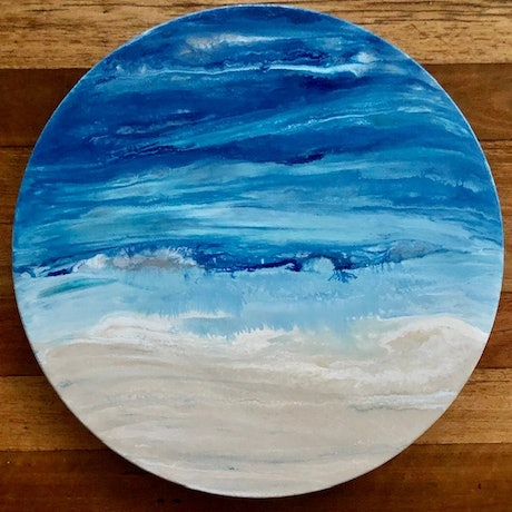 (CreativeWork) Through the Porthole - modern, ocean inspired artwork on canvas by Debra Ryan. Mixed Media. Shop online at Bluethumb.