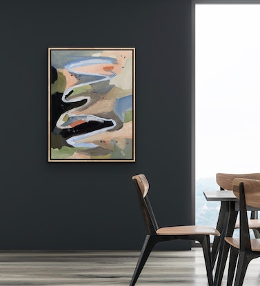 (CreativeWork) Murrumbidgee - Abstract landscape by Meredith Howse. Oil Paint. Shop online at Bluethumb.
