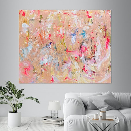 (CreativeWork) Pink Abstract - Spring 2020 by Annette Spinks. Acrylic Paint. Shop online at Bluethumb.