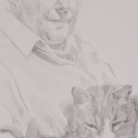 (CreativeWork) The artist and her cat (unframed) by Linda Schneider. Other Media. Shop online at Bluethumb.